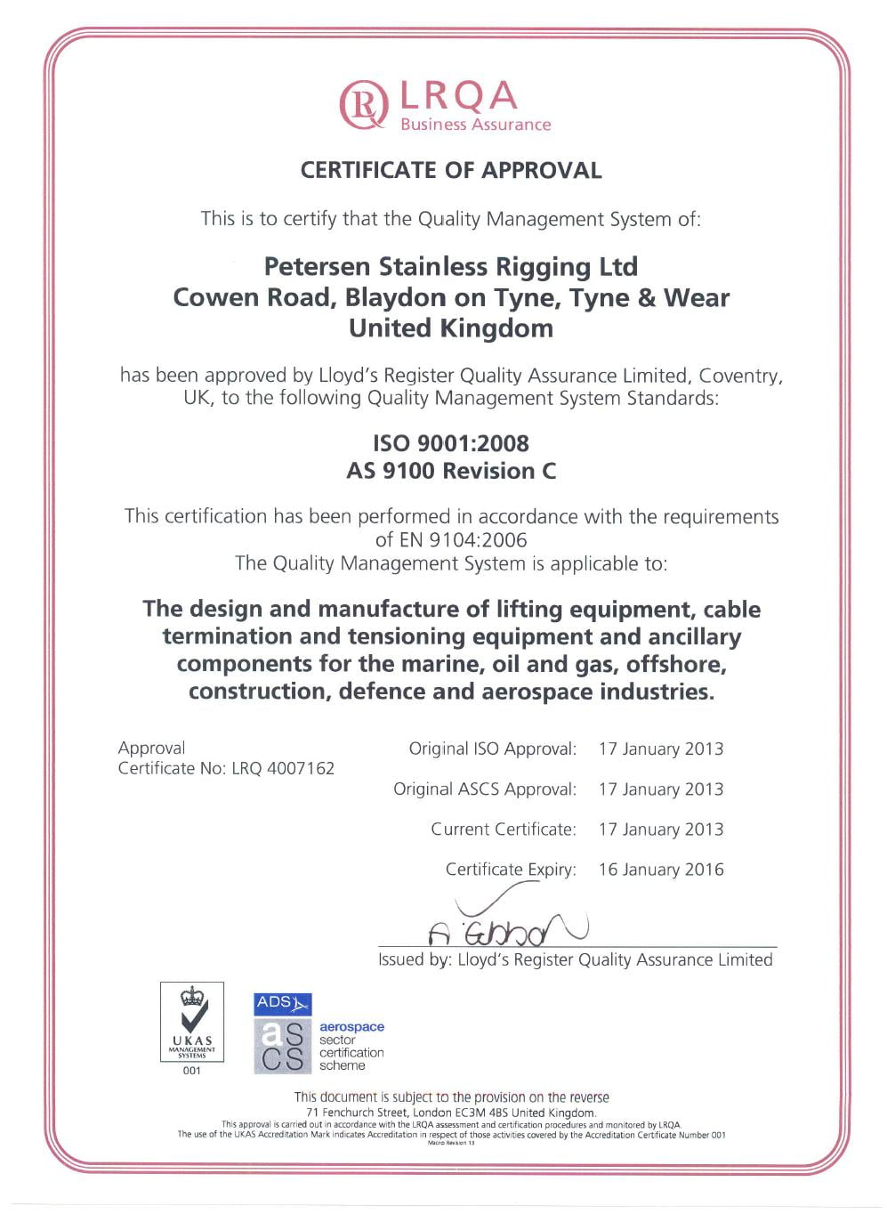 Petersen Quality Cert